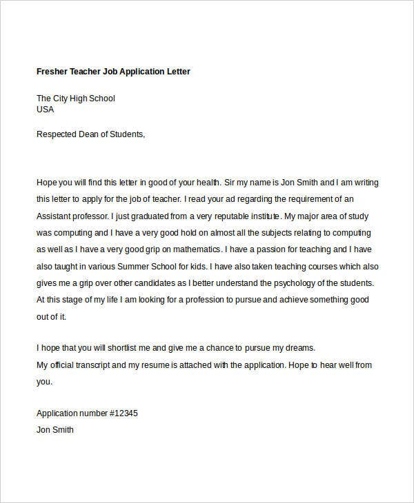 40 job application letters format free premium templates fresher teacher job application letter semioffice details file format altavistaventures Choice Image