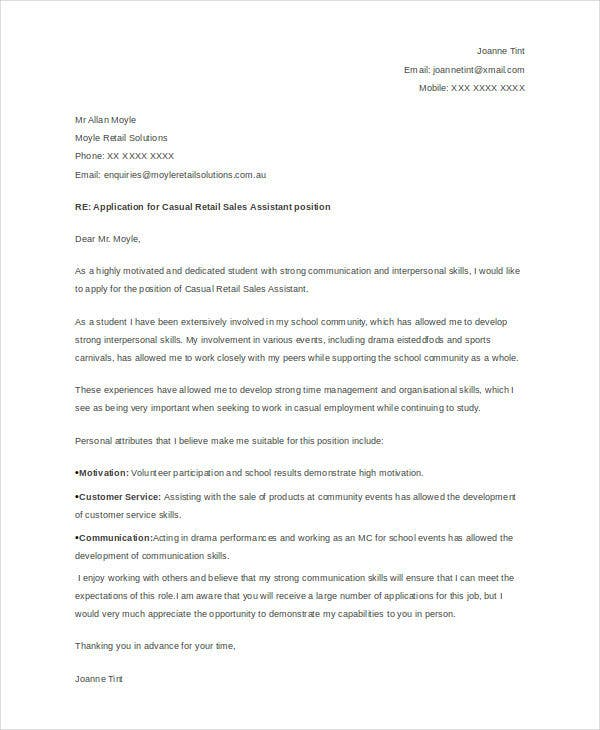 8 Job Application Letter For Students