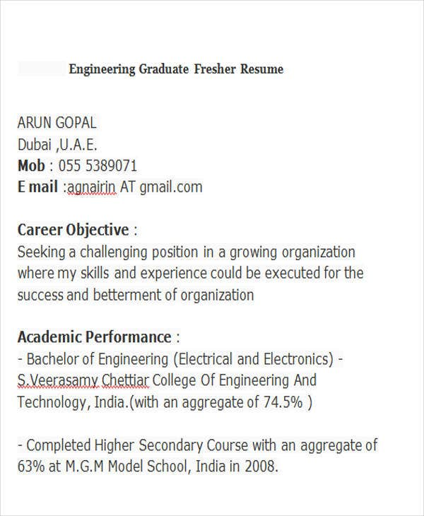 Engineering-Graduate-Fresher-Resume Mba Hr Fresher Resume Format Free Download on