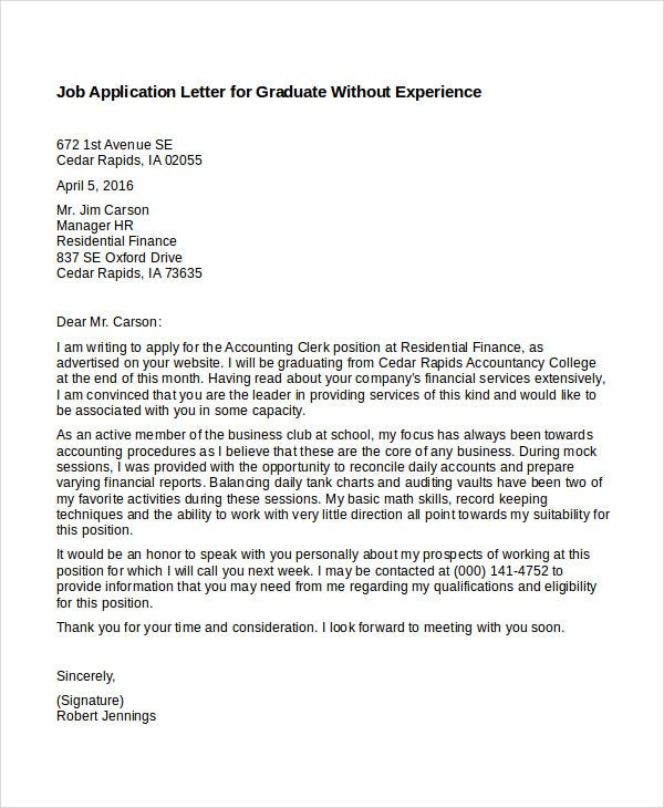 Job Application Letters In Pdf  Free  Premium Templates