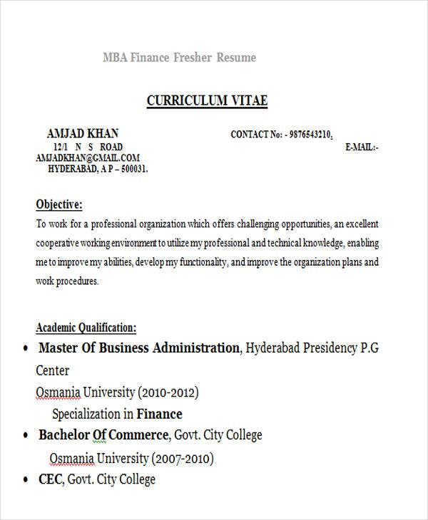 mba finance fresher resume