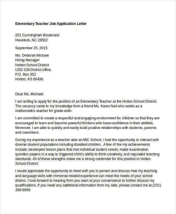 elementary teacher job application
