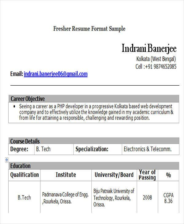 fresher resume format sample