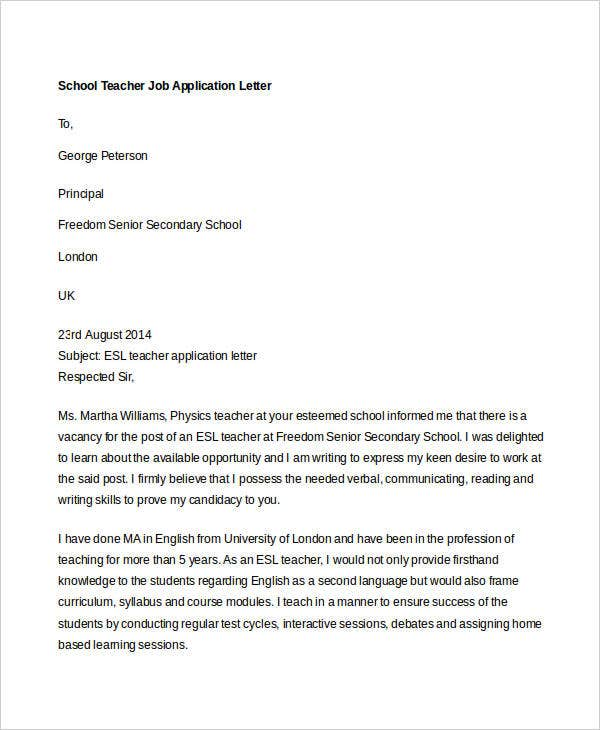 Job Application Letters Format  Free  Premium Templates