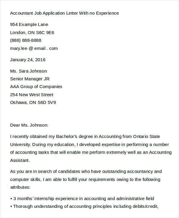Accountant Job Application Letter With no Experience