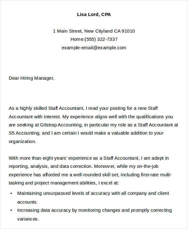 Staff Accountant Job Application Letter