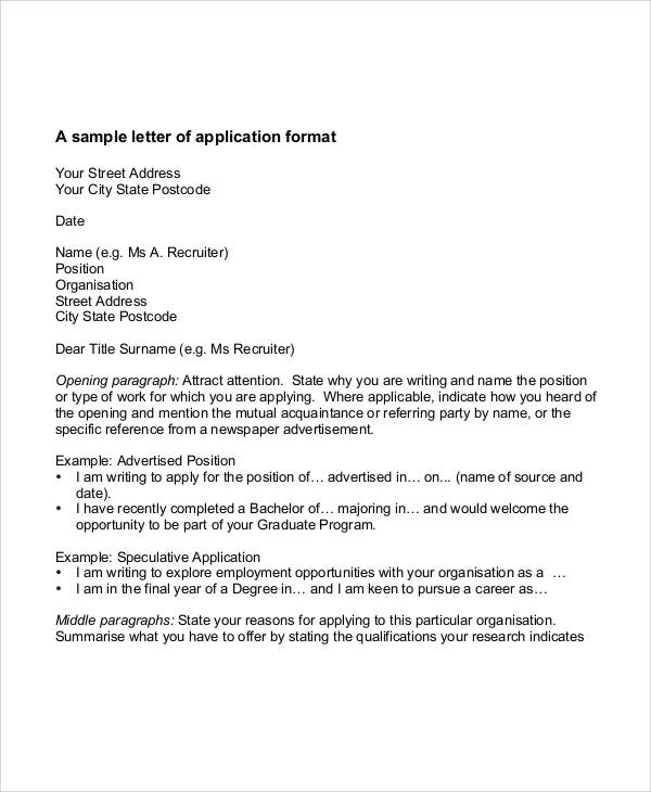 example of job application letter writing