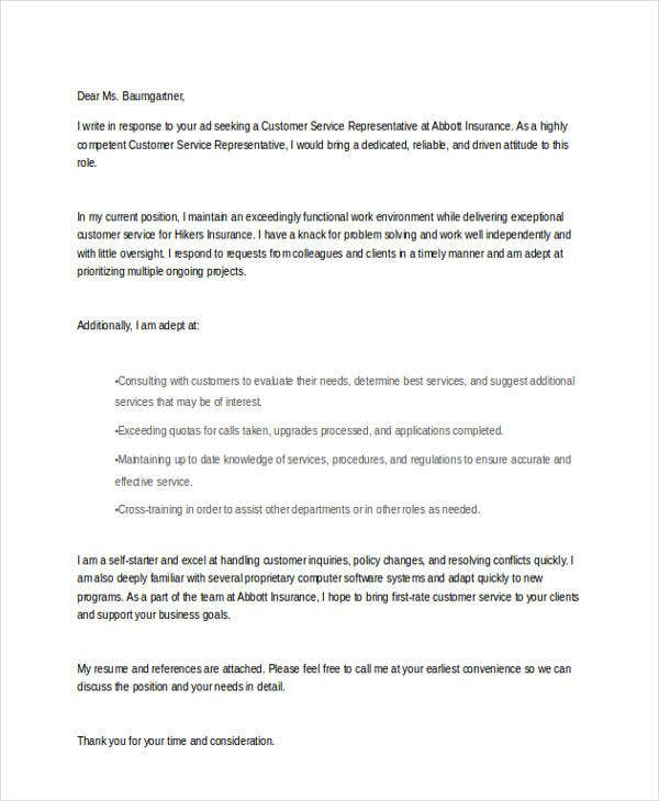 Cover letter customer service sample templatex123 10 free for Examples of cover letters for customer service representatives