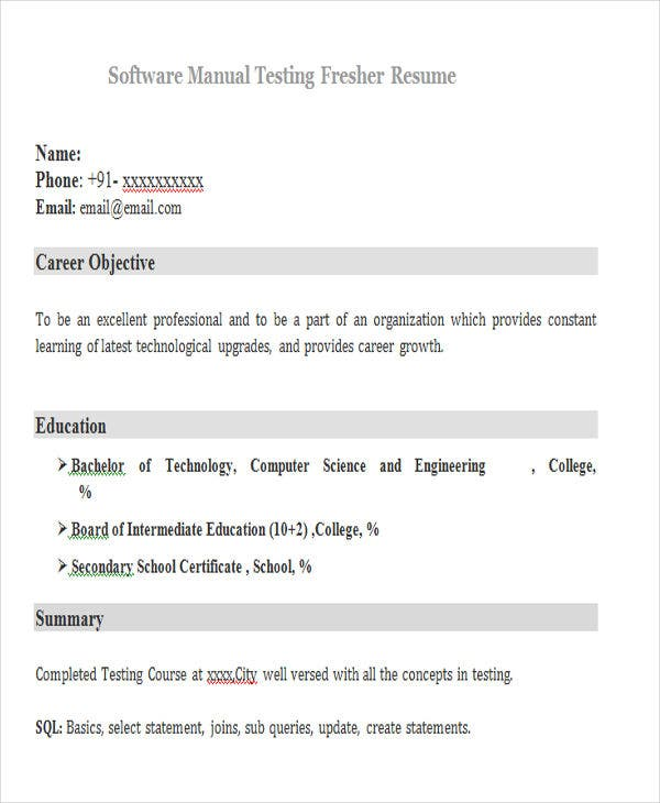 software manual testing fresher resume