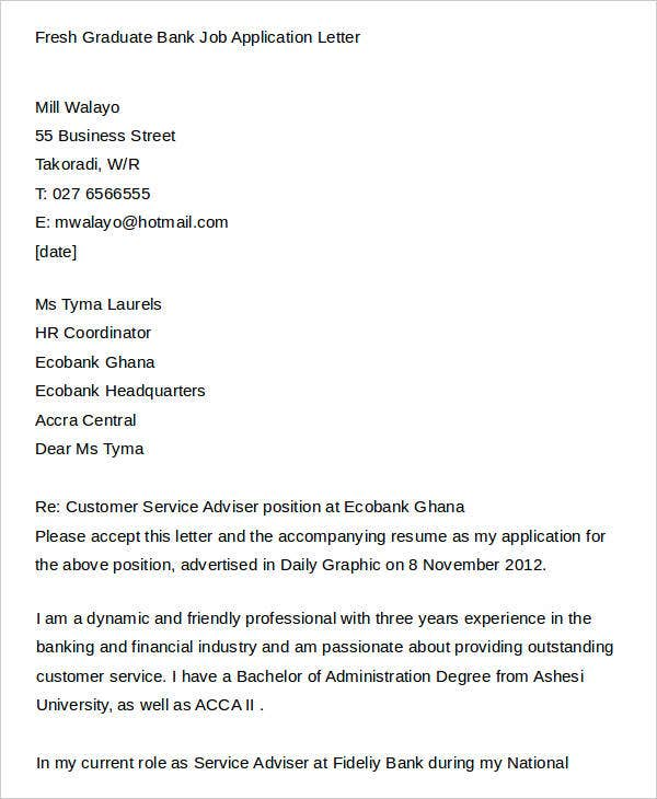 Fresh Graduate Bank Job Application Letter