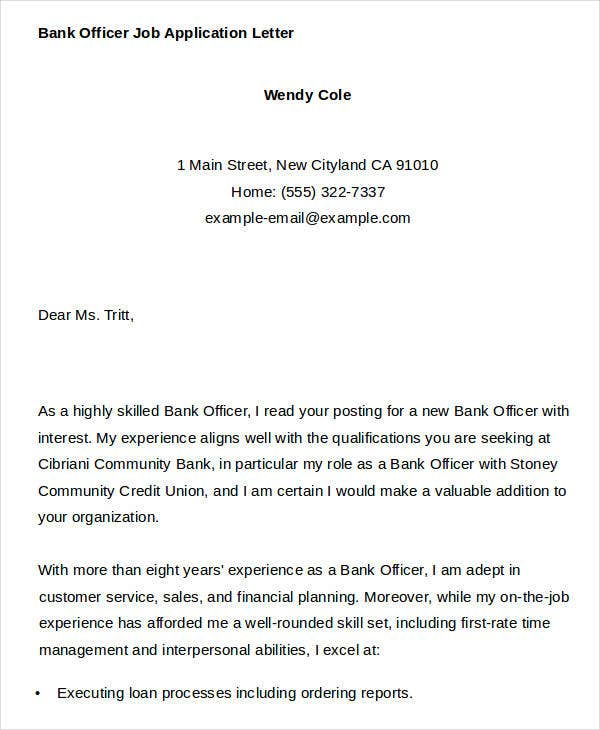 40 job application letter templates pdf word free premium bank job application letter templates thecheapjerseys Image collections