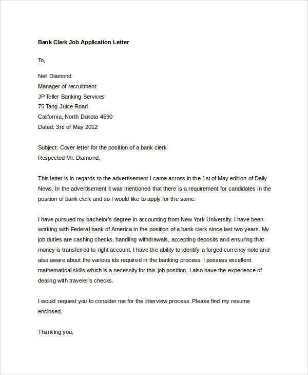 Captivating Bank Clerk Job Application Letter. Samplecoverletters.org