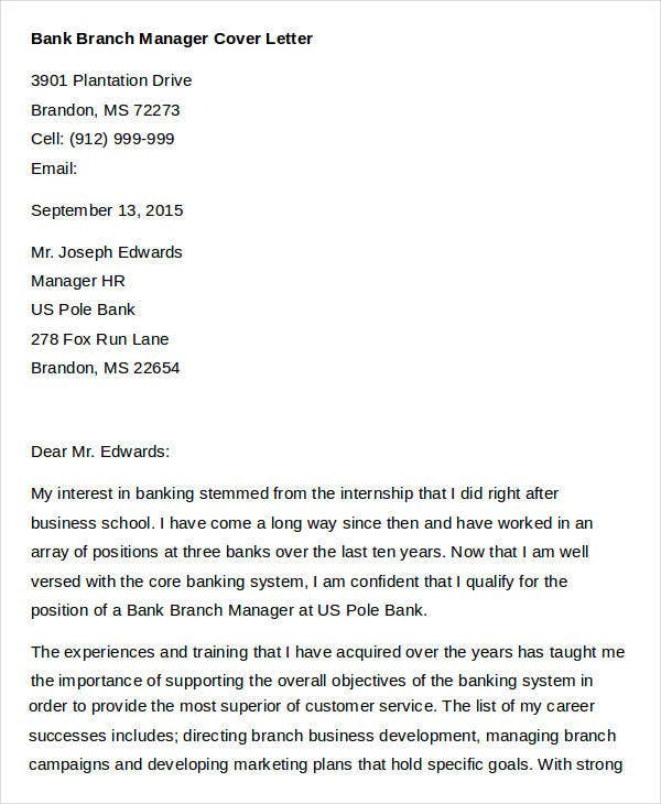 Bank Branch Manager Job Application Letter