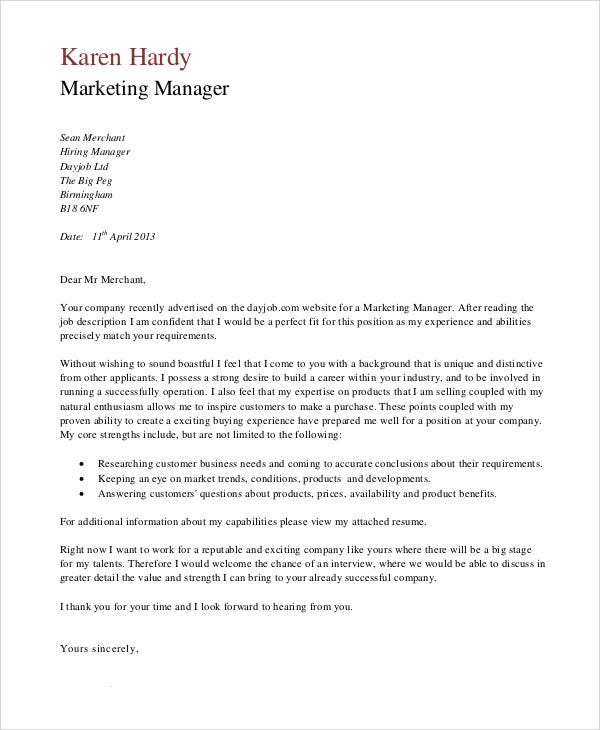 cover letter for job application sales and marketing - application letter marketing director