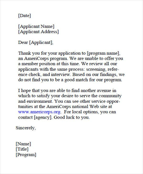 Email Job Applicant Rejection Letter2
