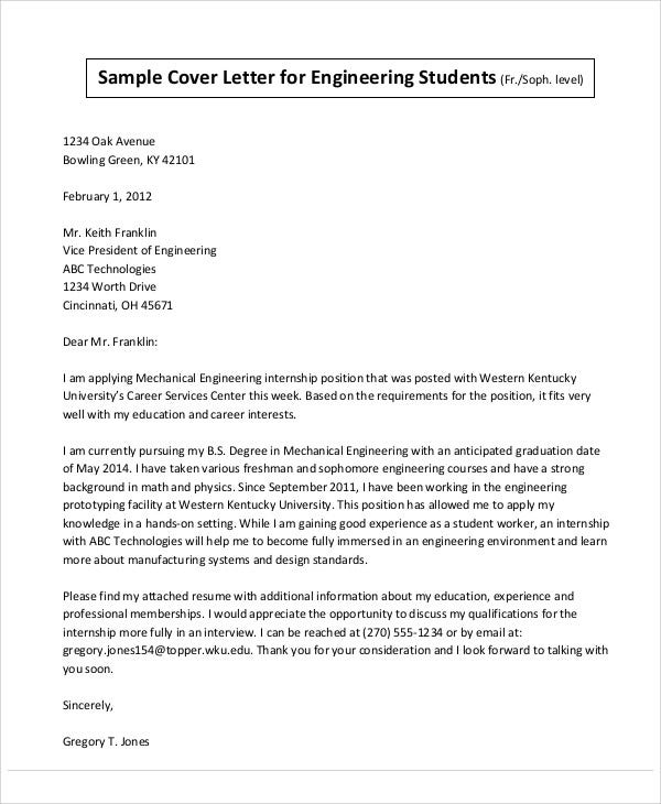Fresh Graduate Engineering Internship Cover Letter