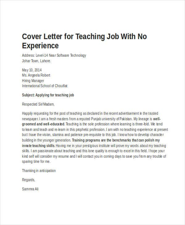 Job Application Letter For Teacher Without Experience  Cover Letter For Teaching Job