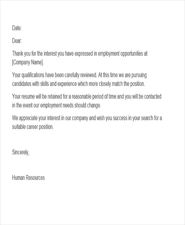 Job Application Rejection Letter Before Interview