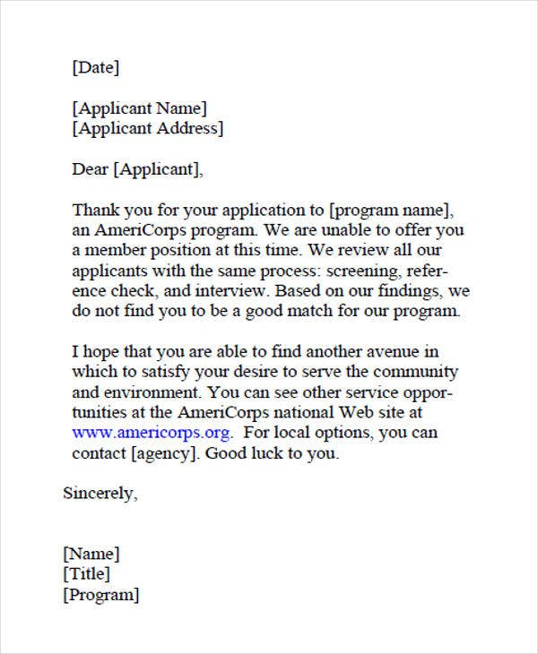 job applicant rejection letter example1