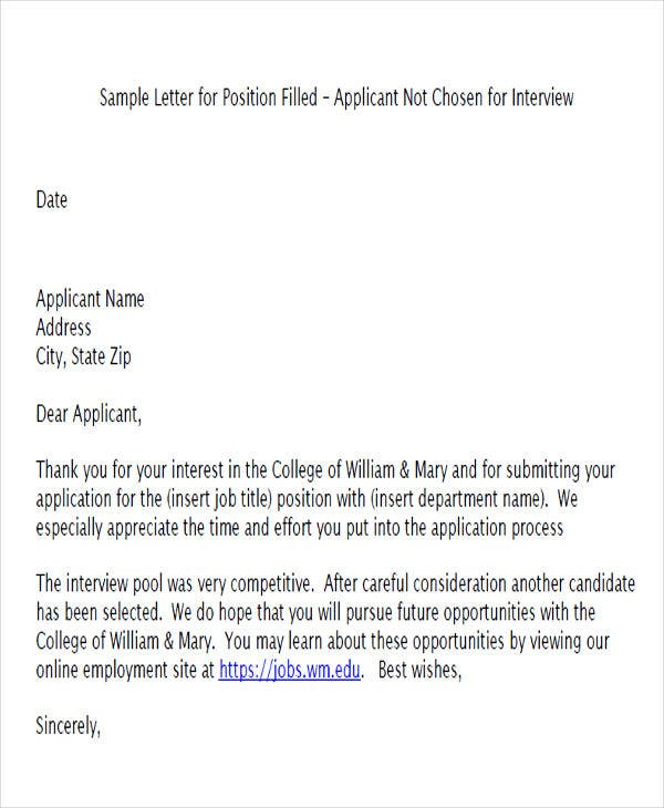 standard job applicant rejection letter2