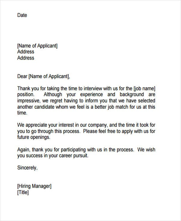 job applicant rejection letter sample1