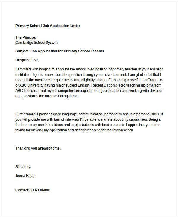 primary school job application letter