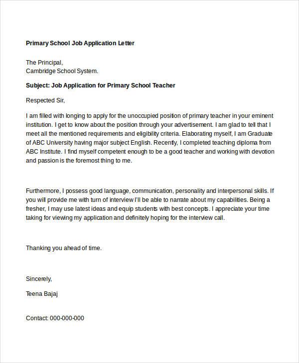 Application letter for applying teacher job in school 3 letters application altavistaventures Image collections