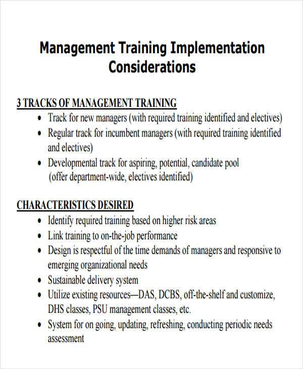 training implementation plan sample