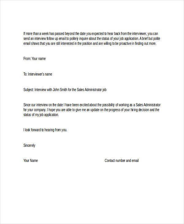 Job Application Follow Up  Email  Letter Templates  Examples
