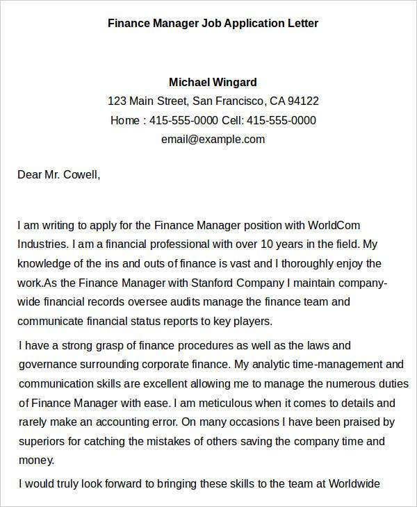 Finance Manager Job Application Letter