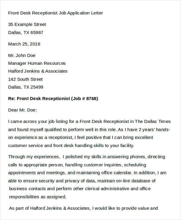 Front Desk Receptionist Job Application Letter