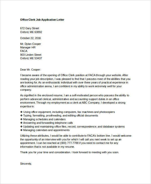 Superior Office Clerk Job Application Letter. Coverlettersandresume.com