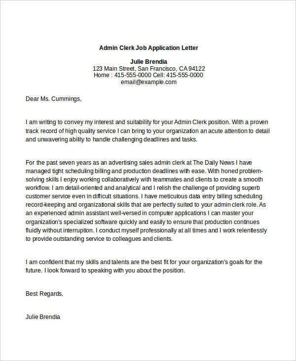 Admin Clerk Job Application Letter. Livecareer.com