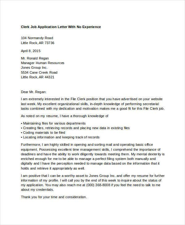 application letter for clerk job in school For your application to hold a personal appeal to your situation, you need to eliminate all the general or insignificant facts from it only those aspects of your previous jobs, which hold utmost relevancy to the specifications of the job you're seeking, are to be included in your resume as you can see in the sample of the school.