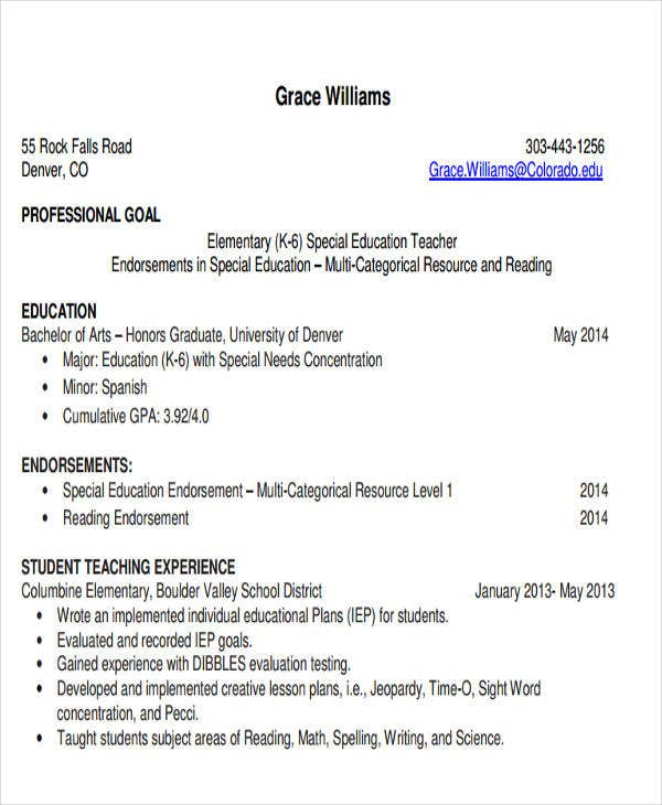 30 Teacher Resume Templates Download – Teacher Job Resume Format