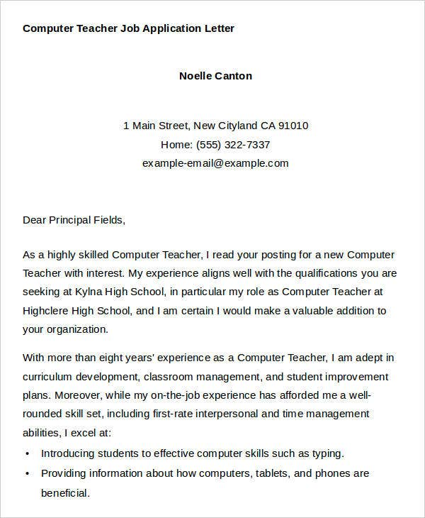 Computer Teacher Job Application Letter