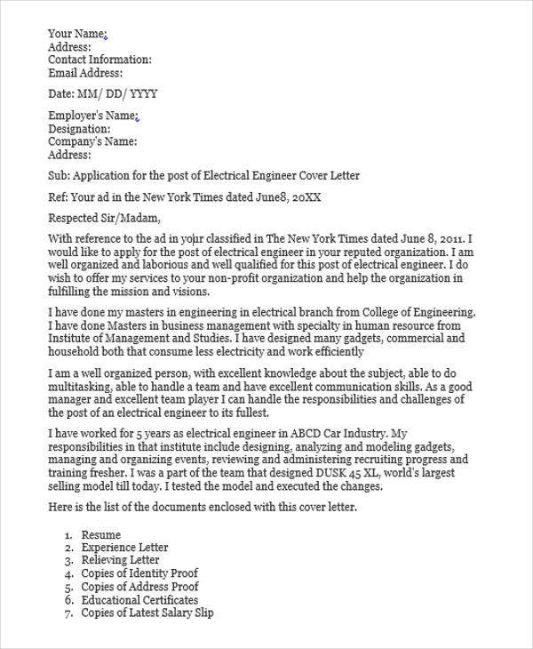 Application Letter For Electrical Engineering Learnership