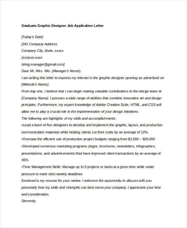 graduate graphic designer job application letter