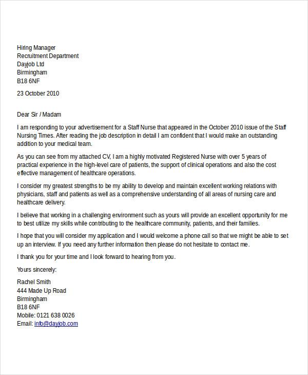 Job application letter sample nursing spiritdancerdesigns Images