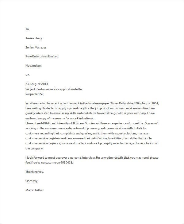 Customer Service Covering Letter: 29+ Job Application Letter Examples - PDF, DOC