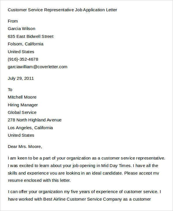Customer Service Representative Job Application Letter