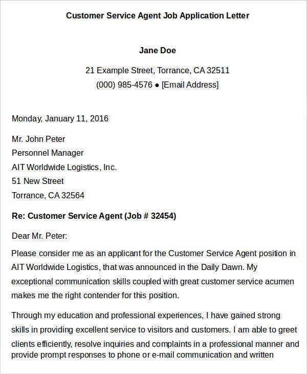 Customer Service Agent Job Application Letter