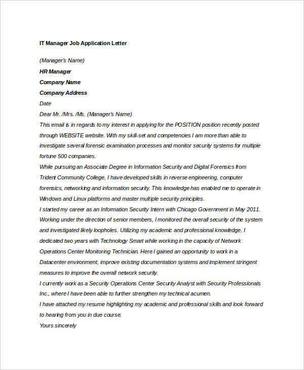 it manager job application letter1
