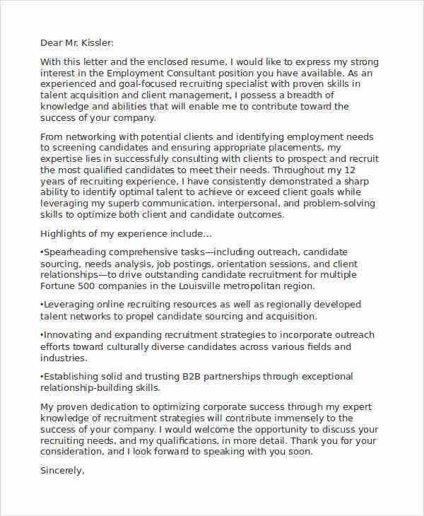 Employment Consultant Application Letter