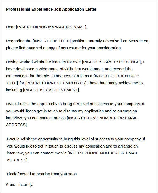 Professional Experience Job Application Letter