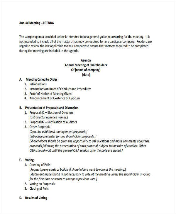 Agenda Format Sample Agenda For Interview Pdf Format Download