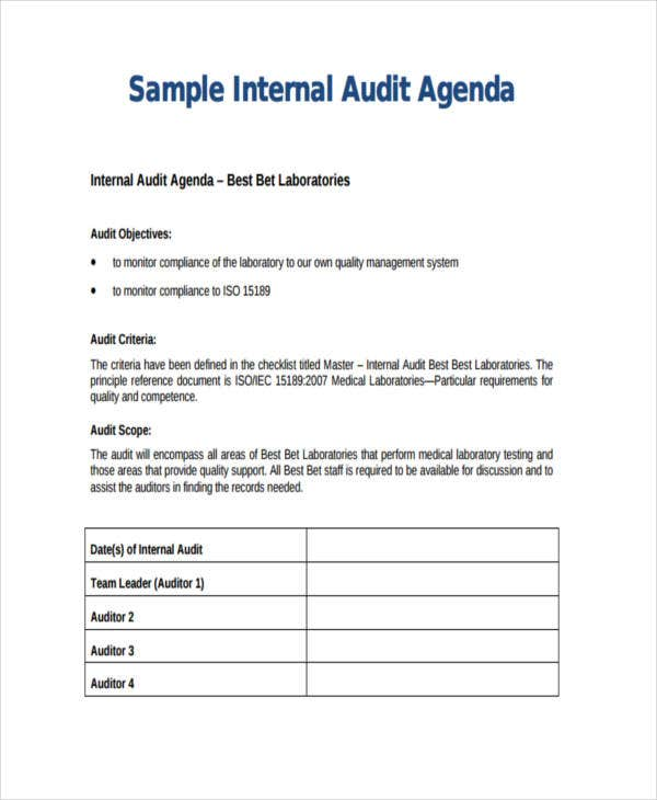sample internal audit agenda