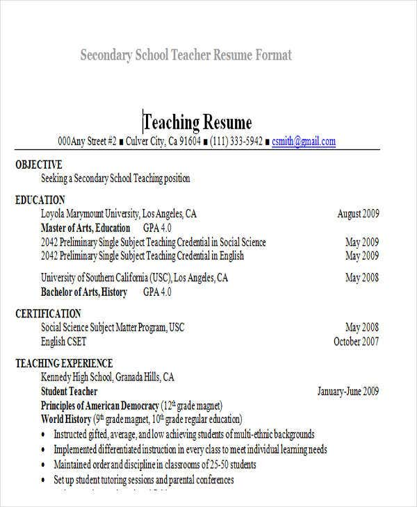 secondary school teacher resume format lmuedu