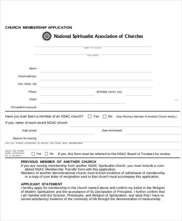church membership application letter