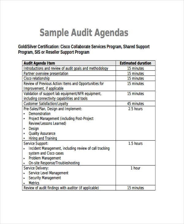Sample Audit Agenda Template